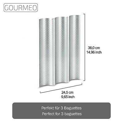 GOURMEO Baguette Baking Tray (3 baguettes) 38 x 24 5 cm non-stick perforated pan