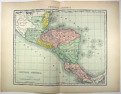 Original 1895 Map of Central America by Rand McNally