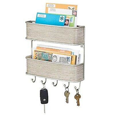 mDesign Letter Tray and Key Organiser - Wall-Mounted Key Rack and Letter Hold...