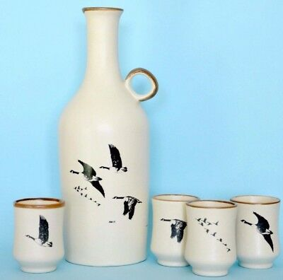 Vintage decanter w shooter glasses Canada goose hand made pottery ceramic bottle