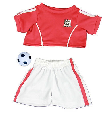 """Red Soccer Football kit ball outfit teddy bear clothes fits 15"""" Build a Bear"""