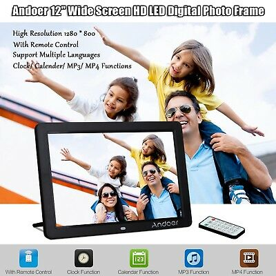 Andoer 12 inch HD LED Digital Picture Frame Wide Screen with Remote Control(Blac