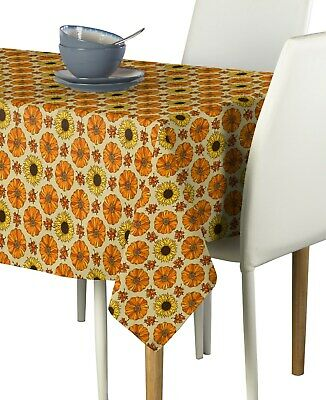 Fall Pumpkins & Sunflowers Fabric Tablecloths - Assorted Sizes Available