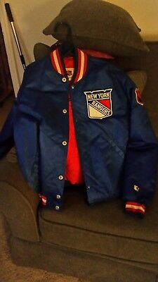 NHL New York Rangers Vintage Satin Starter Jacket Used Size S Blue Red White ea95852b0b