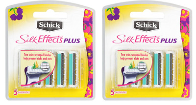 Shick Silk Effects Plus Razor Blade Refills for Women - 5 Count (2 Pack)