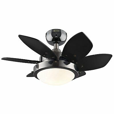 "24"" Ceiling Fan with Lights Small Room Low Profile Indoor Reversible 6 Blades"