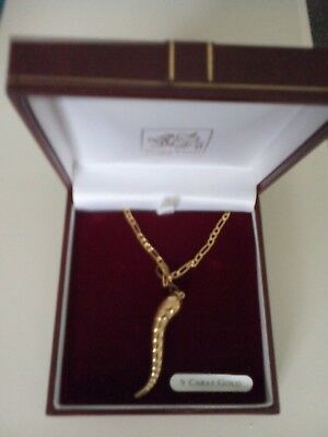 9ct gold 20ins Figaro chain and pendant