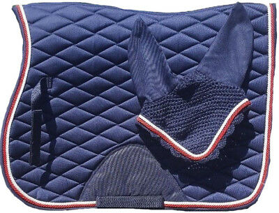 Jumping Saddle Pad Cloth Numnah With Matching Fly Veil Cob Size
