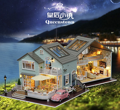 DIY Wooden Doll House Queenstown Miniatures LED Furniture Kit Light With Cover