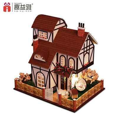 DIY Doll House Wooden Miniature Model Assemble Furniture Light Kits Garden Town