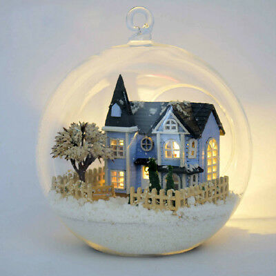 DIY Doll House Furniture Wooden Winter Snow Glass Ball Dollhouse Christmas Gift