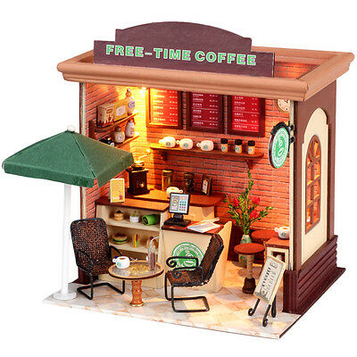 Kits Dollhouse Miniature DIY Wood Doll House Gift Free time Coffee Shop