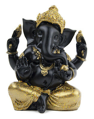 Ganesha Ganpati Ganesh Figura Estatua Negro Om Lord Hindu God Antique