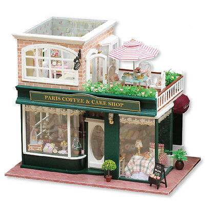 DIY Miniature Doll House Kit Coffee Shop Craft Model LED Kids Birthday Xmas Gift