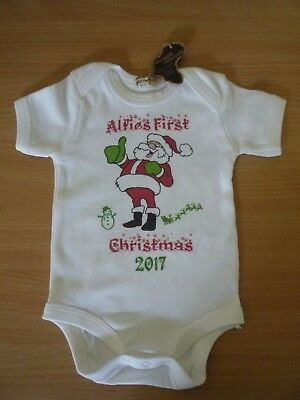 Personalised My 1st Christmas Babygrow Fairy Lights First Xmas Bodysuit