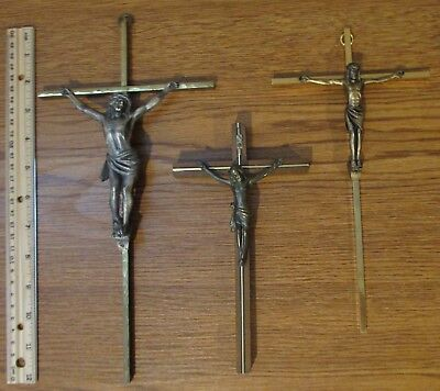 Vintage Religious Christian 3 Crucifix Cross Metal Wood Inlay Brass??