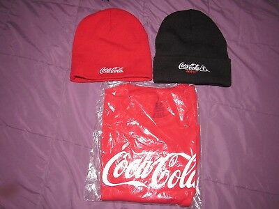 Coca Cola Crew Neck T Shirt XL Red With Coke Zero Knit Hat Fruit Loom Cotton