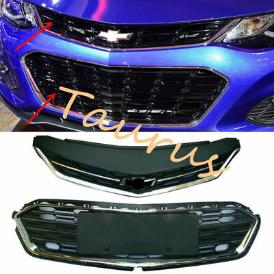 OEM Chrome Front Bumper Upper Grill+Middle Grille For Chevrolet Cruze 2017-2018