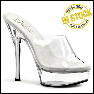 ALLURE-601 Pole Dancing Stripper Shoes posing Shoes Clear Platforms Pleaser Heel