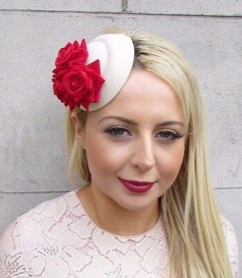 Small Red Cream Rose Flower Pillbox Hat Fascinator Hair Clip Races Wedding 4183