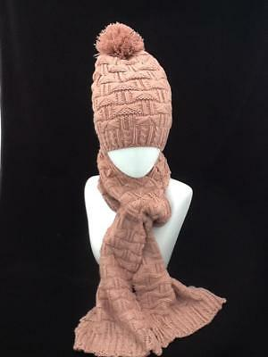 Ladies  Dusky Pink Winter Hat And Scarf Set With Pom Pom Code: Whpnk02