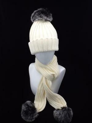 Ladies Cream Winter Hat And Scarf Set With Pom Pom Code: Whscriv01