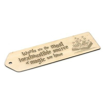 Harry Potter Inspired Wooden Bookmark - Engraved Gift - Words are magic