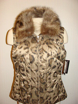 Womens Skea Vail Colorado Lea Ski Vest Size Small Nwt $700 W Real Fur
