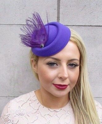 Purple Peacock Feather Pillbox Hat Fascinator Headpiece Vtg Races Hair Clip 4197