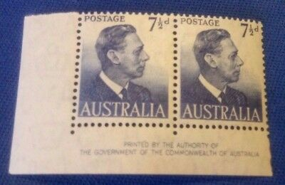 Australia Stamp SG251. 7.5 blue corner margin pair.1951-52