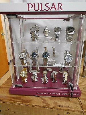 Counter Top Revolving 3-Shelf Acrylic Display Case for Watches/Jewelry