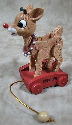 Enesco Rudolph The Red Nosed Reindeer Ornament on Red Wagon Pull Cart