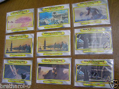 1980 STAR WARS Empire Strikes Back card Space Paintings Lot of 9 Topps Darth Vad