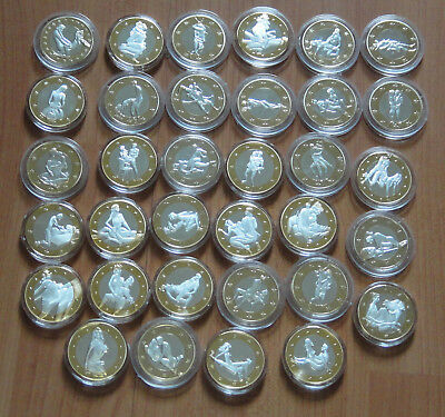 1 Set 34pcs Sex 6 Euro Coins Gold Plated Commemorative Sexy Art Collection.