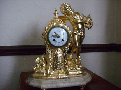 Large Impressive Figural Ormolu And Marble French Clock