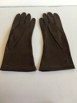 Womens Vintage Kid Leather Gloves, Dark Brown  Silk Lined Size 8. Made In Italy