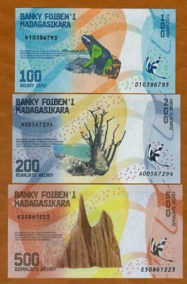 SET Madagascar, 100;200;500 Ariary, 2017 P-New UNC > Completely Redesigned