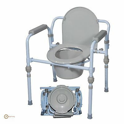 Commode Chair For Toilet Adult Disabled Bedside Wheelchair Seat Seniors Handicap
