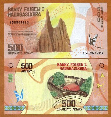 Madagascar, 500 Ariary, 2017 P-New UNC > Completely Redesigned, Hybrid Polymer