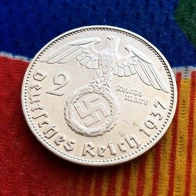 1937 G 2 mark German WWII Silver Coin Third Reich Reichsmark 5*