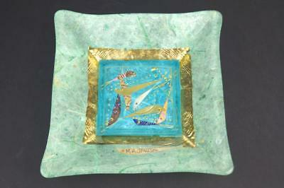MARGARET JOHNSON Art Glass Dish Aquamarine FISH Precious Metal Inclusions