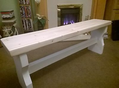 4ft Shabby Chic Bench rustic style wooden kitchen hallway conservatory porch