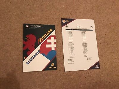 2017 Scotland v Slovakia Oct 6th MINT Programme + Match Press Teamsheet !