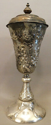 Lg. 19thC Antique VICTORIAN Repousse SILVER on COPPER Covered CHALICE Urn VASE