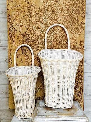 Willow Wall Basket Door Decor Wall Pocket White Washed-S/2 Baskets