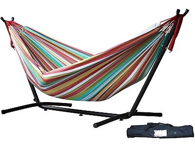 Vivere UHSDO9-26 Double Hammock with Space Saving Steel Stand, Salsa