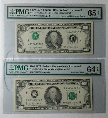 1977 $100 FRN Inverted Overprint Error (65EPQ) and Bookend Note (64EPQ)