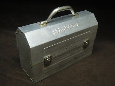 old  lunch  box  metal  robust    STRONGBOX.....see  photos  and details