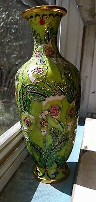 "10"" Enameled Decorated Floral Vase With Raised Leaf"