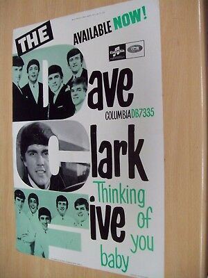 DAVE CLARK FIVE - 1964 ORIGINAL ADVERTISING POSTER Thinking of you baby.